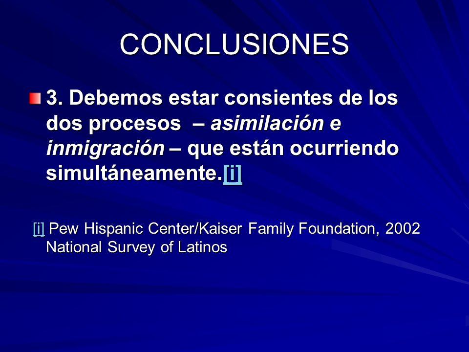 CONCLUSIONES 3. Debemos estar consientes de los dos procesos – asimilación e inmigración – que están ocurriendo simultáneamente.[i]